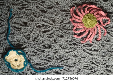 Handmade knitting from wool background