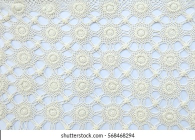 Handmade lace on white background