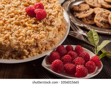 """Handmade layered cake. """"Napoleon"""" or """"medovik""""or other layered cake in Russian Quisine"""