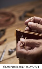 Handmade leather.Shot with very shallow depth of field.