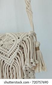 Handmade macrame hand bag close up.