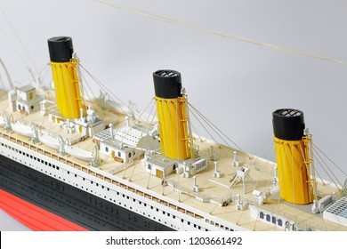 Handmade model of Titanic . Beautiful Handmade model of Titanic isolated on white background.