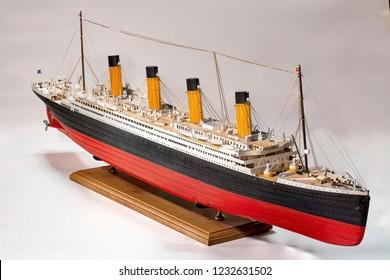 Handmade model of Titanic. Beautiful Handmade model of Titanic isolated on white background.