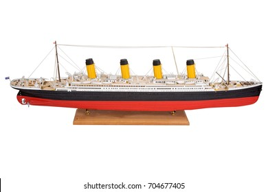 Handmade model of Titanic Beautiful Handmade model of Titanic isolated on white background.