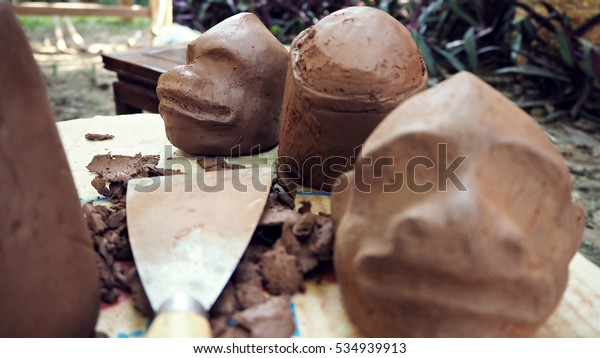 Abstract Clay Face Art