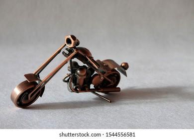 Handmade motorcycle from metal. Chopper motorcycle.