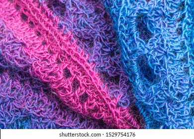 handmade multicolor crochet background with single crochet and double crochet stitches