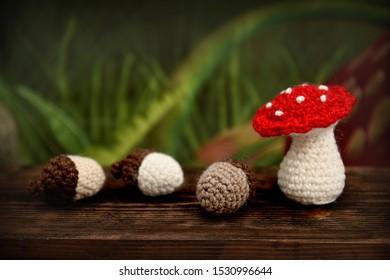 Handmade mushroom and acorn decoration
