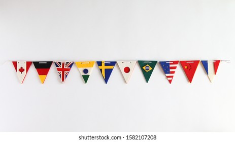 Handmade National Flags Garland on white