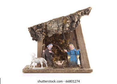 Handmade nativity on a white background