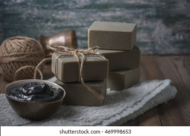 Handmade natural soap with Dead sea mud. Selective focus