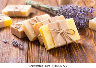 Handmade natural soap with lavander  . Spa photo on rustic background