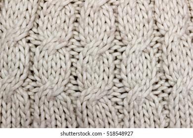 Handmade natural white knitting wool texture background