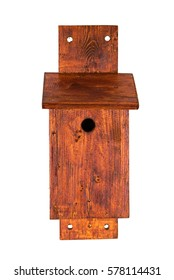 A handmade nest box for small birds isolated on white background front view