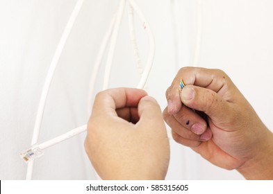 Handmade Network Cable,Hands working concept