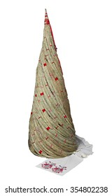 Hand-made new year tree on white background . Ethnic