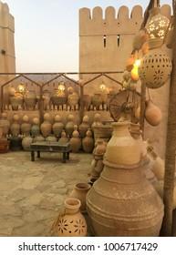 Hand-made Omani pottery outside Nizwa Fort, Oman