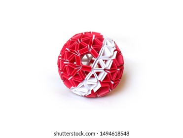 Handmade origami ball kusudama on white background