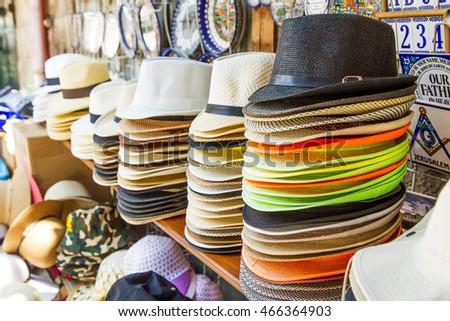 0439ceba Handmade Panama Hats for sale. Panama hats for sale in a market stall .