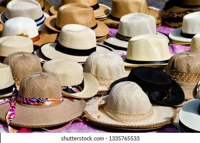 Handmade Panama Hats at the traditional outdoor market. Popular souvenir from Central America.  Granada, Nicaragua