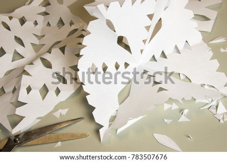 Handmade Paper Cutout Snowflakes Arts And Crafts Project
