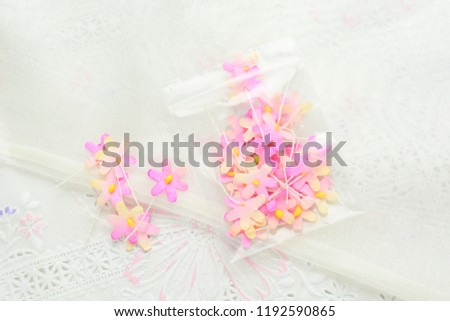 Handmade Paper Flowers On White Fabric Stock Photo Edit Now