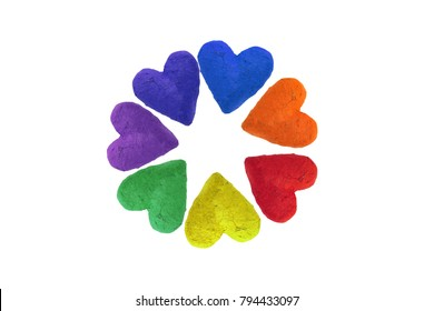 handmade paper hearts in rainbow colors, isolated on white background