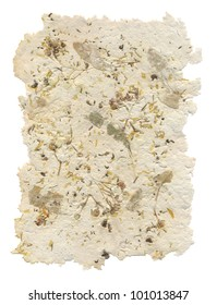 Handmade paper with leaves and flowers inside, isolated on white background