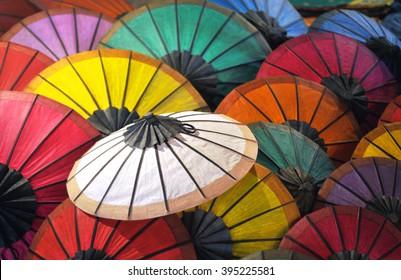 handmade paper umbrella in laos