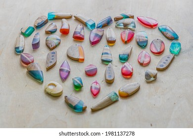 Handmade pendants made of epoxy resin and wood