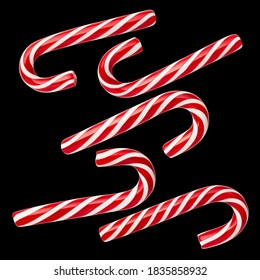 Handmade Peppermint Candy Canes - a holiday tradition. Set of isolated sweets on a black background. No shadow