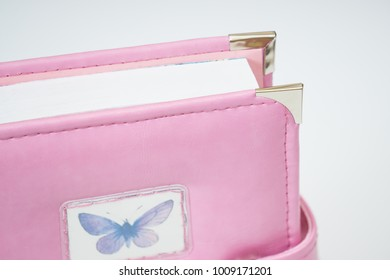 Handmade pink color  leather notebook, planner for business or education with cute decoration - butterfly