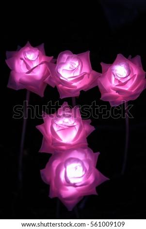 Handmade Pink Flower Led Light Night Stock Photo Edit Now