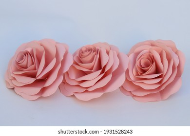 Handmade pink rose flowers made from origami paper