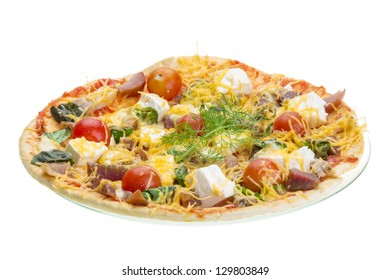 Handmade pizza with cheese and salami