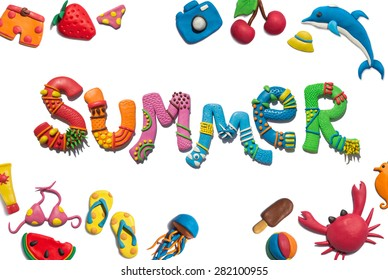 Handmade plasticine poster of summer typography and objects. Summer lettering. All objects handmade and huge resolutions.