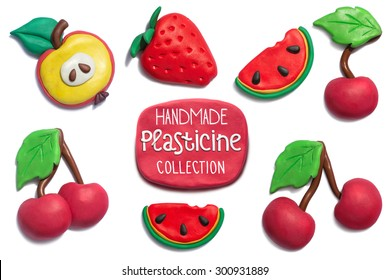 Handmade plasticine summer fruits collection. Apple, strawberry, cherry, watermelon all objects handmade of plasticine and big resolution.