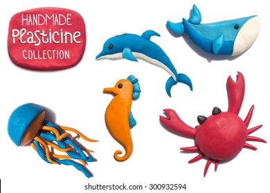 Handmade plasticine summer sea life animals collection. Sea life animals all objects handmade of plasticine, big resolution.