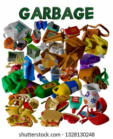 Handmade plasticine trash. Isolated on white background. Unsorted trash. Different types of garbage: Organic, Plastic, Metal, Paper, Glass – Image