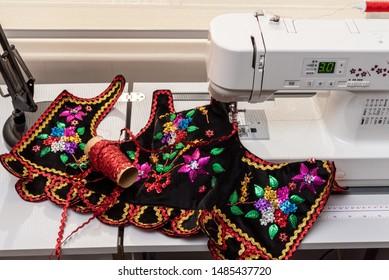 Handmade Polish traditional costume (Stroj Krakowski) in the making. - Shutterstock ID 1485437720