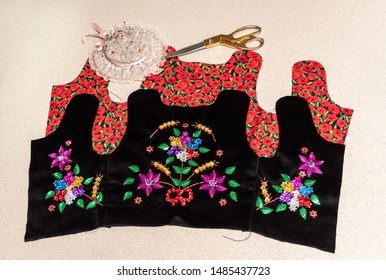 Handmade Polish traditional costume (Stroj Krakowski) in the making. - Shutterstock ID 1485437723