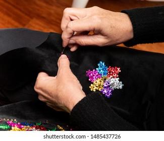 Handmade Polish traditional costume (Stroj Krakowski) in the making. - Shutterstock ID 1485437726