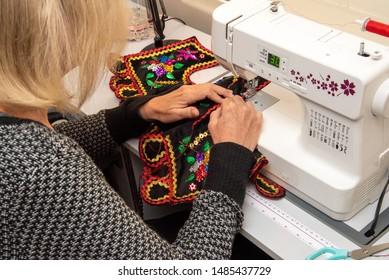 Handmade Polish traditional costume (Stroj Krakowski) in the making. - Shutterstock ID 1485437729