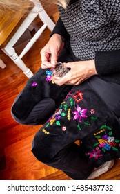 Handmade Polish traditional costume (Stroj Krakowski) in the making. - Shutterstock ID 1485437732