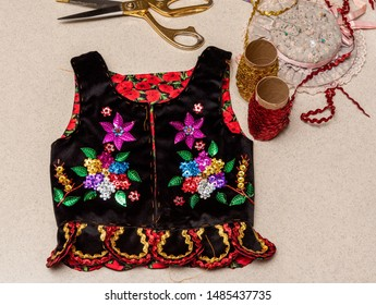 Handmade Polish traditional costume (Stroj Krakowski) in the making. - Shutterstock ID 1485437735