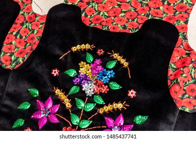 Handmade Polish traditional costume (Stroj Krakowski) in the making. - Shutterstock ID 1485437741