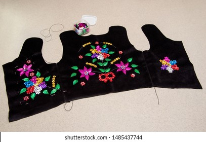 Handmade Polish traditional costume (Stroj Krakowski) in the making. - Shutterstock ID 1485437744