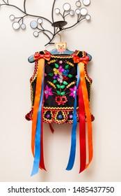 Handmade Polish traditional costume (Stroj Krakowski) in the making. - Shutterstock ID 1485437750