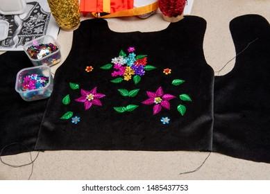 Handmade Polish traditional costume (Stroj Krakowski) in the making. - Shutterstock ID 1485437753