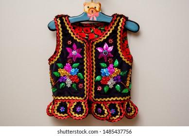 Handmade Polish traditional costume (Stroj Krakowski) in the making. - Shutterstock ID 1485437756